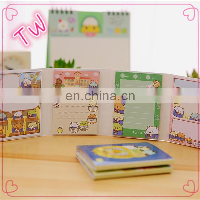 Stock promotion list of office stationery items wholesale Kawaii Cute Cartoon paper sticky note memo pad