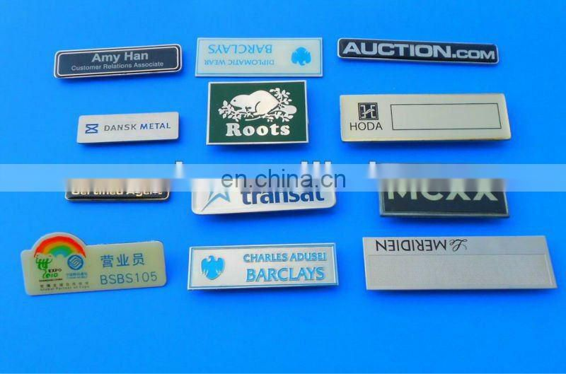 Custom metal plate sticker with embossed logo label for furniture/bag/ etc