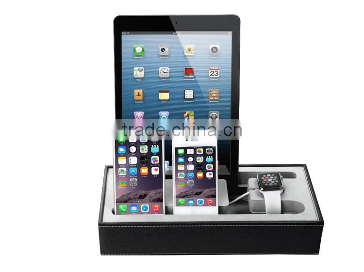 New coming creative Multi-function leather charge stand for apple watch