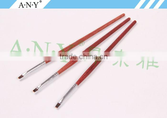 ANY High Quality Rosewood Handle Nylon Hair Gel Nail Brush Flat Shape