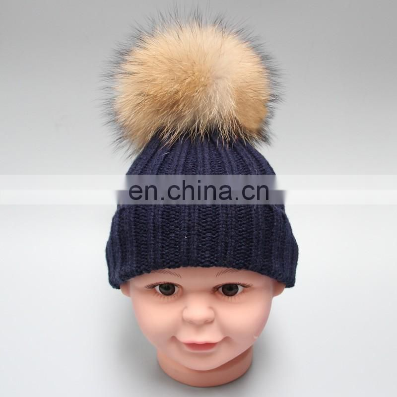 stock hat fashion winter large real raccoon fur knitted beanie hat with pom pom