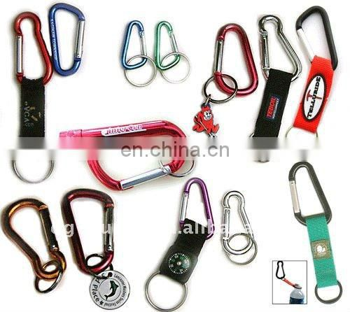 Custom Aluminum carabiner with logo strap and keychian holder