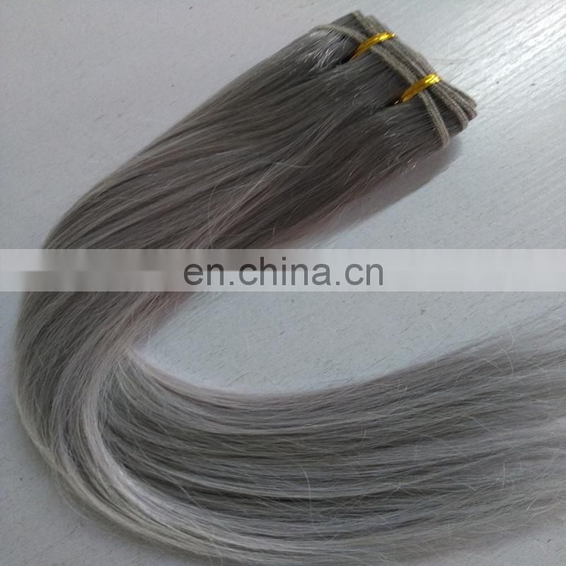 New human hair products grey color straight hair extension colored brazilian hair