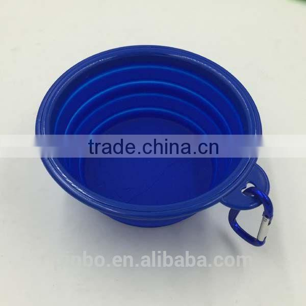 Pocket Foldable plastic pet bowl with Carabiner Clip