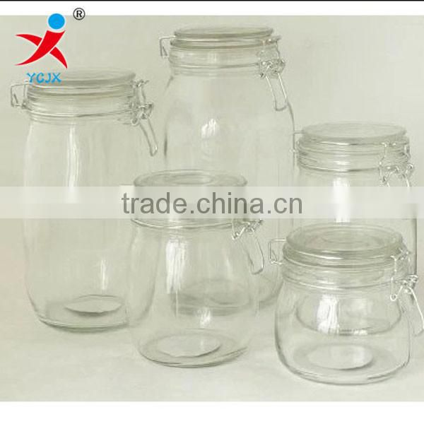 Lead-free thickening glass sealing glass bottle /glass storage jar airtight pot/with cover