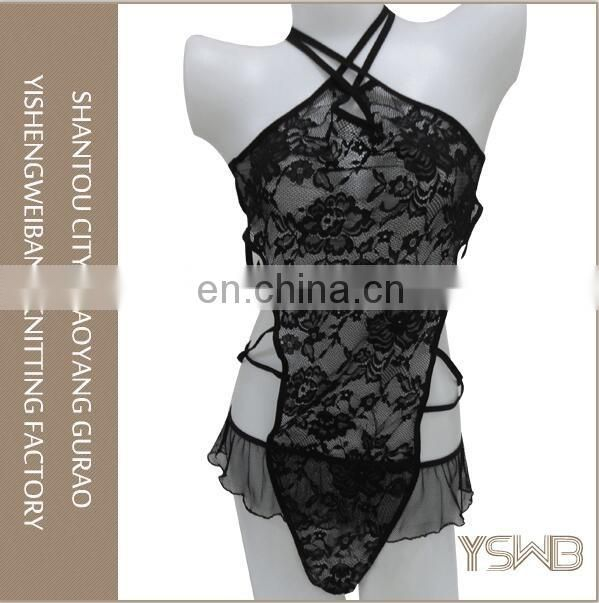 Wholesale sexy underwear black sexy lace baby doll lingerie