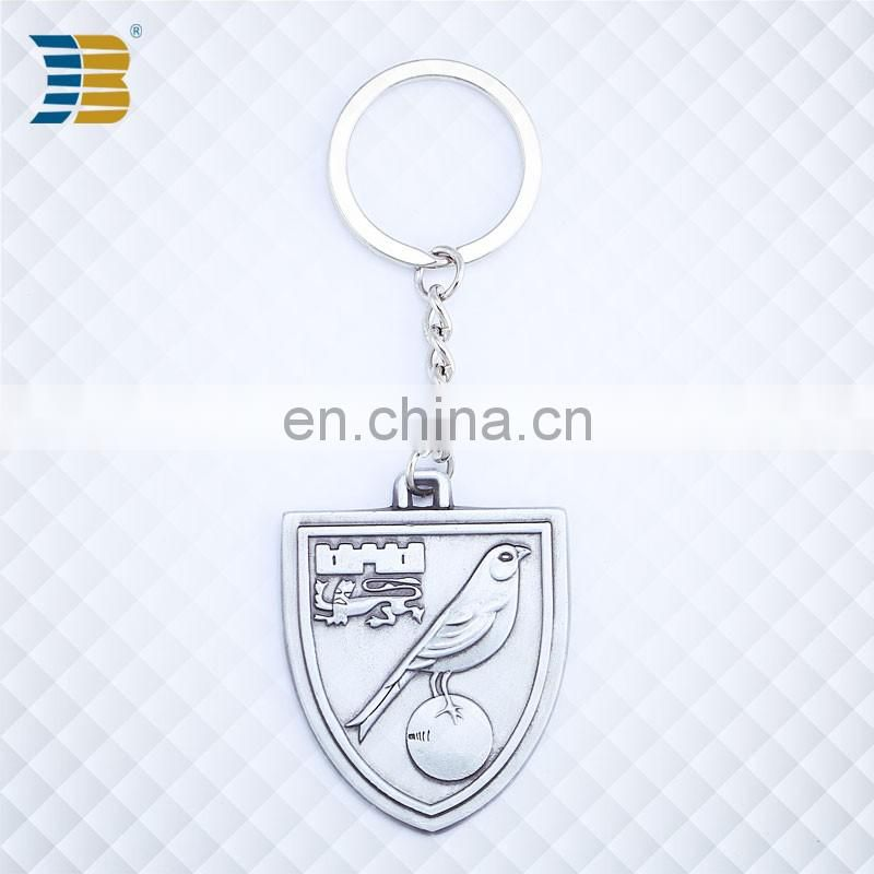 shield shape custom made silver plating keychain with engraving