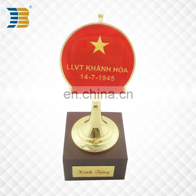 Vietnam custom gold plated enamel trophy with wodden base