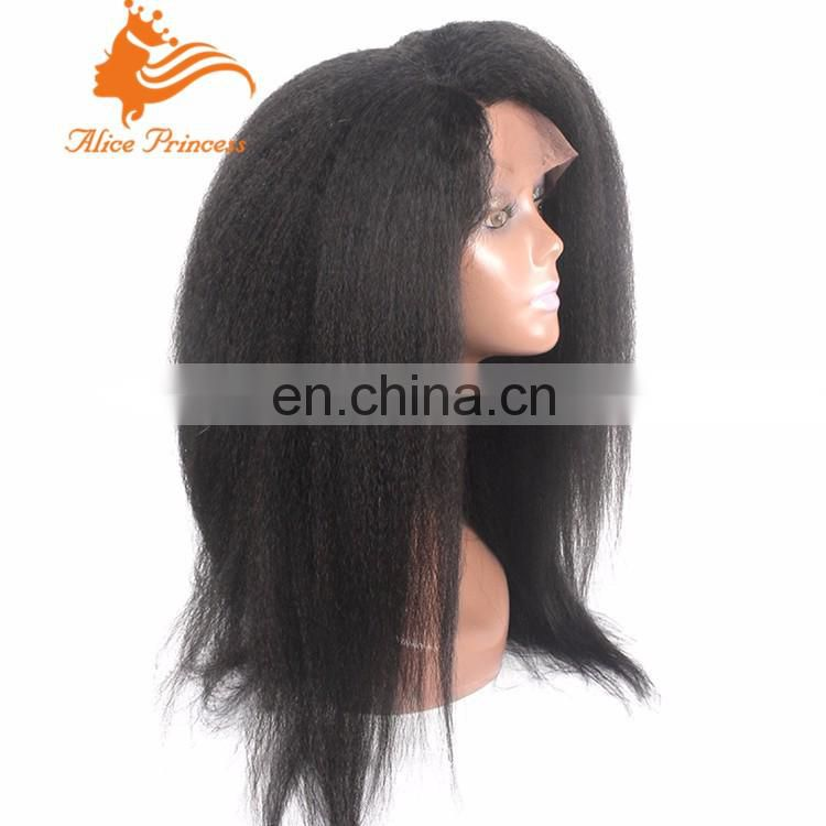 Kinky Straight Glueless Full Lace Wigs Italian Yaki Lace Front Human Hair Wigs Brazilian Virgin Hair