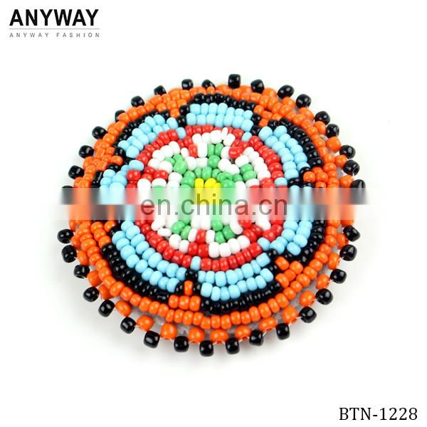 Colorful beads covered button decorative buttons for coat
