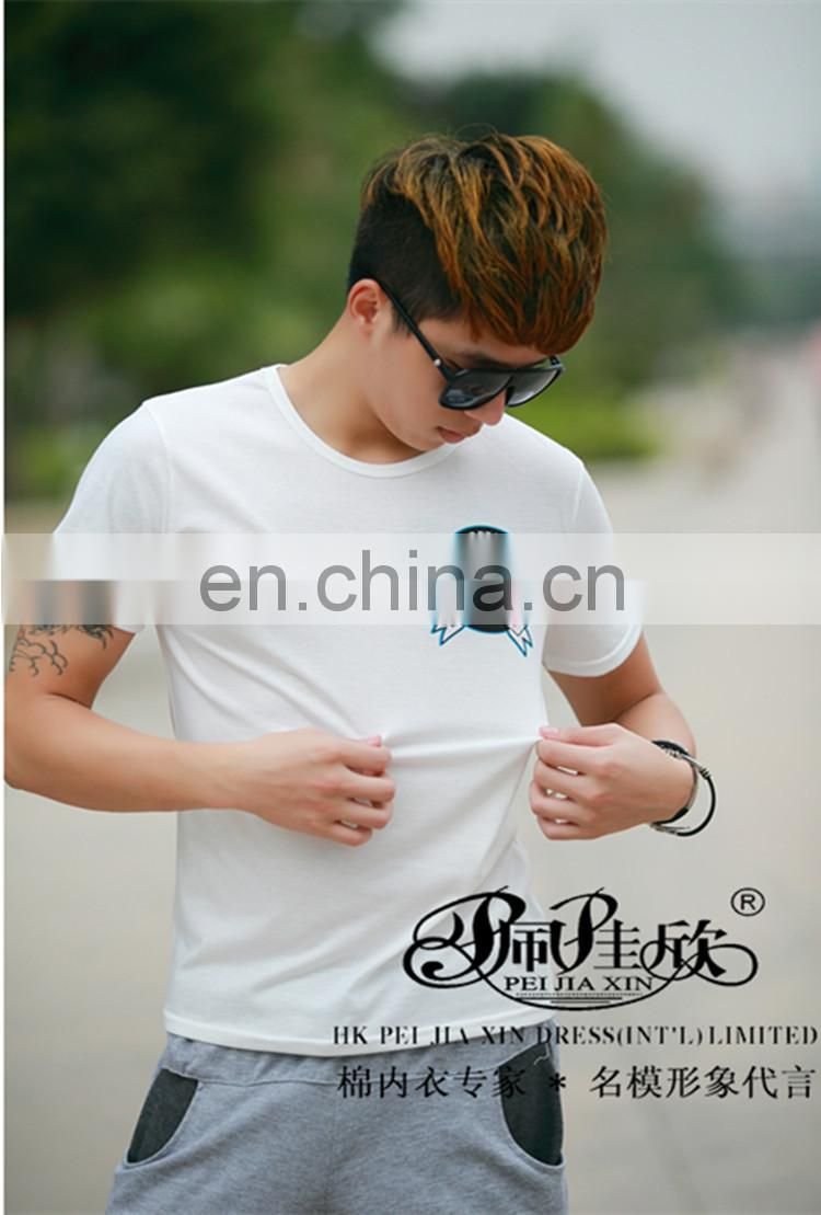 Peijiaxin Latest Design Casual Style Eyes-printed Mens Plain White T shirt
