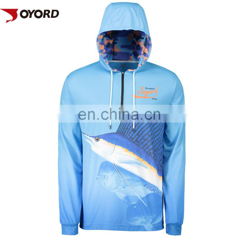 Custom printed short sleeve polyester fishing shirt