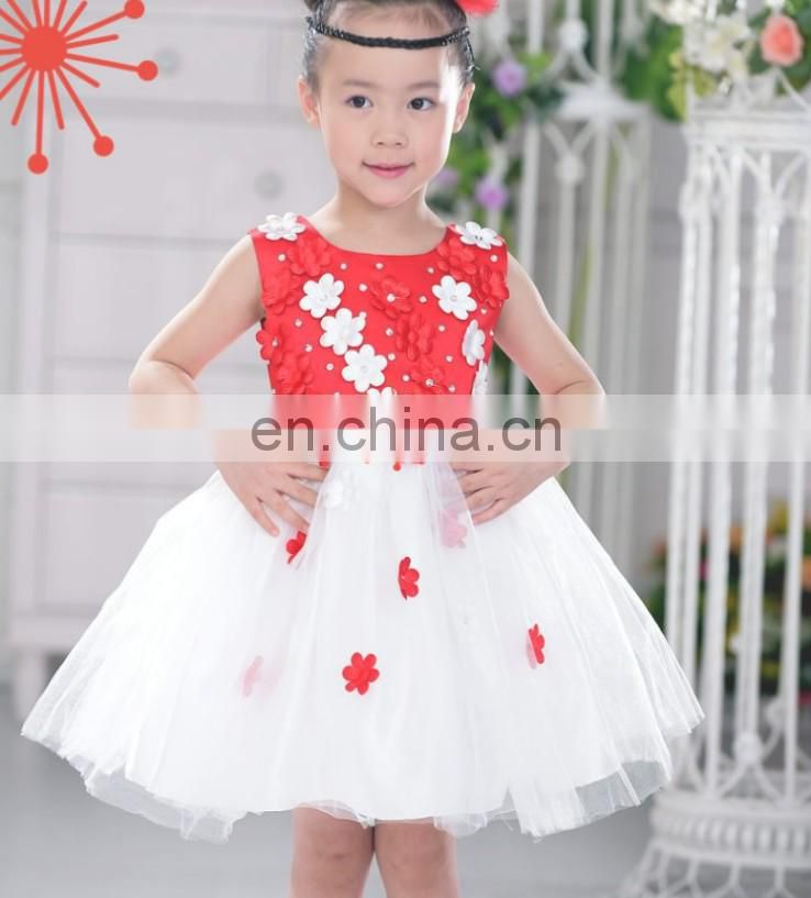 White Petal Toddler Dress Sequin Flower Girl Dress Sleeveless Bridesmaid Frock Princess Costume