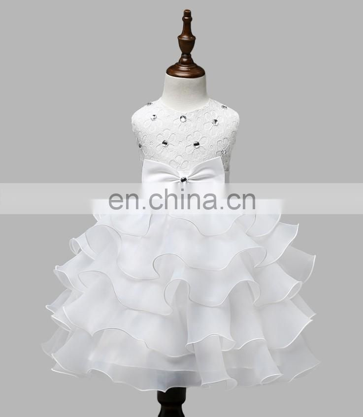 Beige Sleeveless Tulle Girl Dress Bow Pearl Wedding Dress Cake Smash Outfit