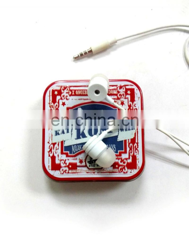 Red square earphone tin box