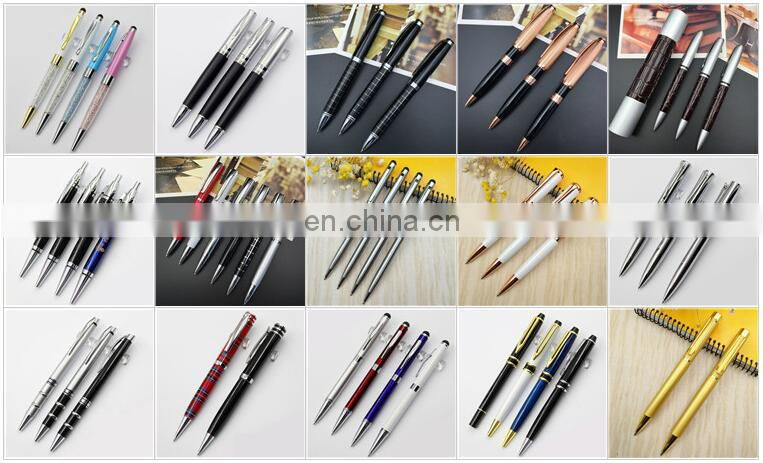 shiny metal ball pen with gift pouch RB170879