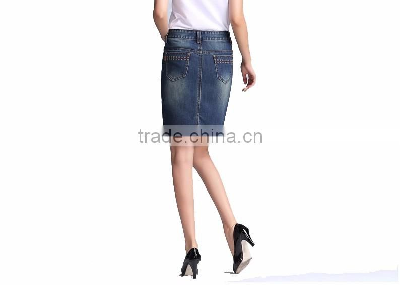 lastest design girls vogue embroidered breathable skirts split A-line jeans skirts for women wholesales