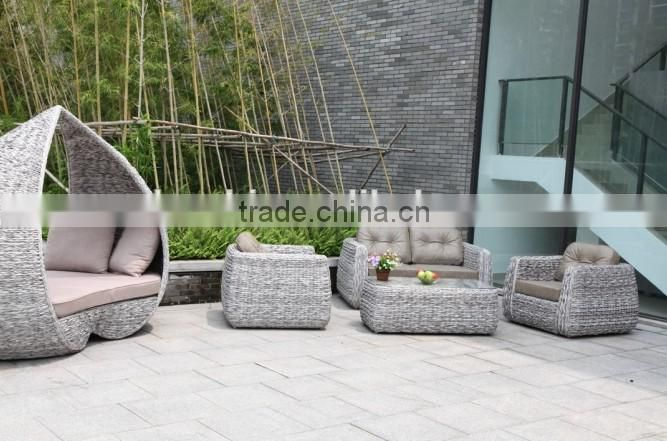 outdoor garden metal swing bench in white round wicker color with brown cushion and it is so popular for hotel and restaurant