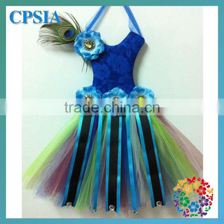 wholesale peacock bow holder with feather flower fashion bow holder