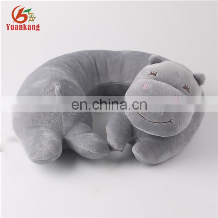 Personalized plush hippo animal U shape neck support travel pillow