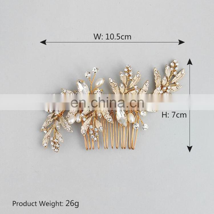 Wedding Jewelry Rhinestone and Leaf Clusters Lush Wedding Hair Comb Bridal Hair Pin Wedding Prom Princess Dress Prop Favors