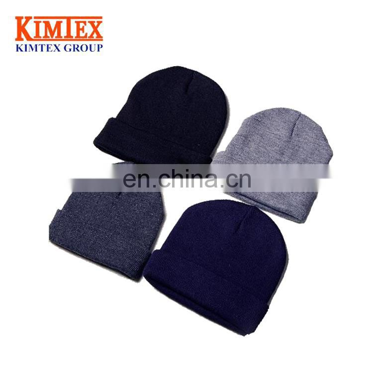 best selling unisex hip-hop acrylic cuff custom Knitted Beanie hat