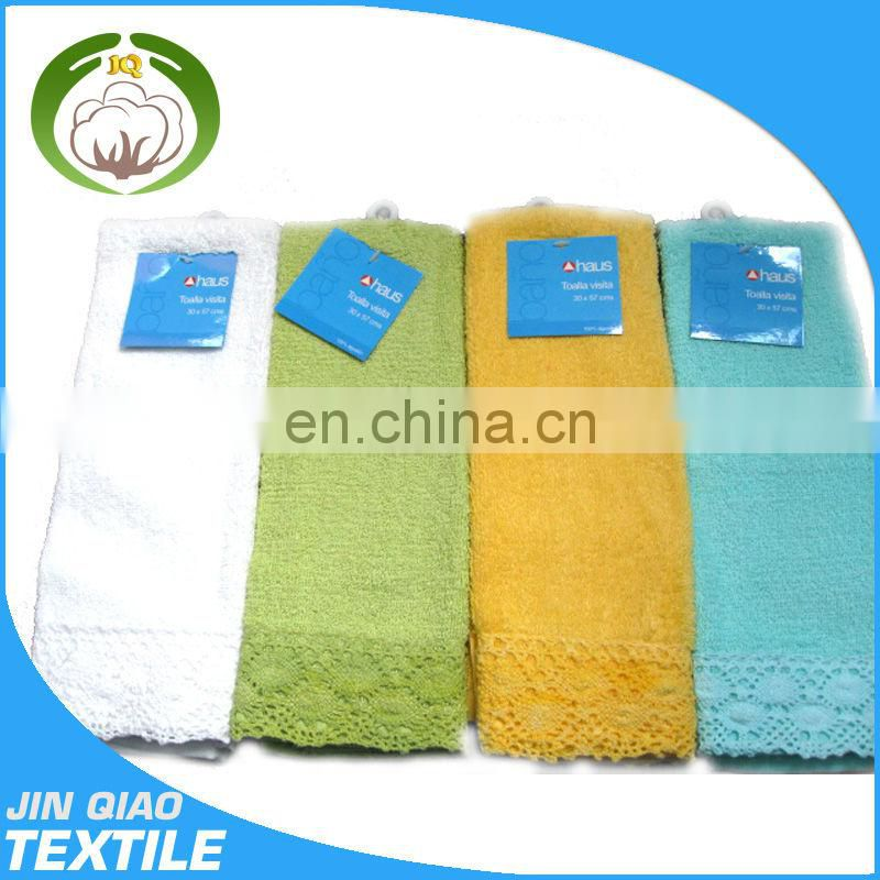 Soft and comfortable colored lace organic cotton face towel