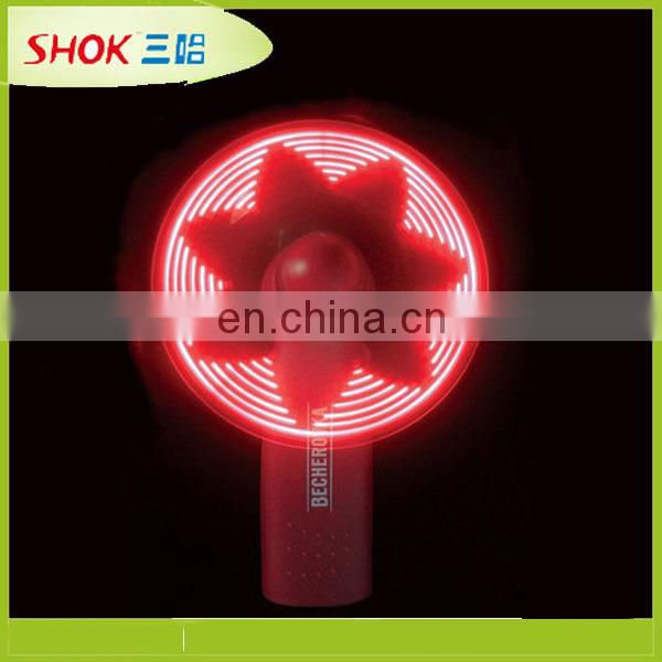 portable high quality led flashing message mini fan