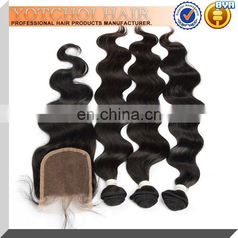 Yotchoi raw cambodian human cuticle aligned hair 3bundles with virgin hair lace closure free part