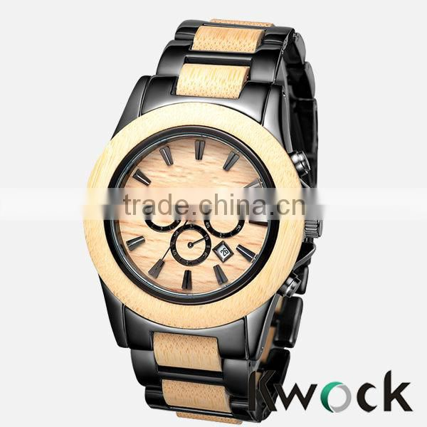 Bewell Japan Movement Water Resistant 3 ATM Black Metal and Bamboo Watch for MENS WRIST