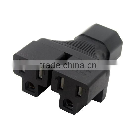 IEC 320 C14 to 2 X Nema 5-15R power adapter, C14 to 2x US female power inverter