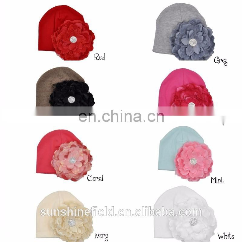 2016 Trendy Newborn Cute Hat Girl Boy Infant Hat Baby Beanies with Elegant Lace Rhinestone Peony Flower