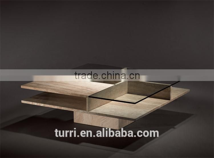 Italy Modern High Quality Square Travertine Base Coffee Table