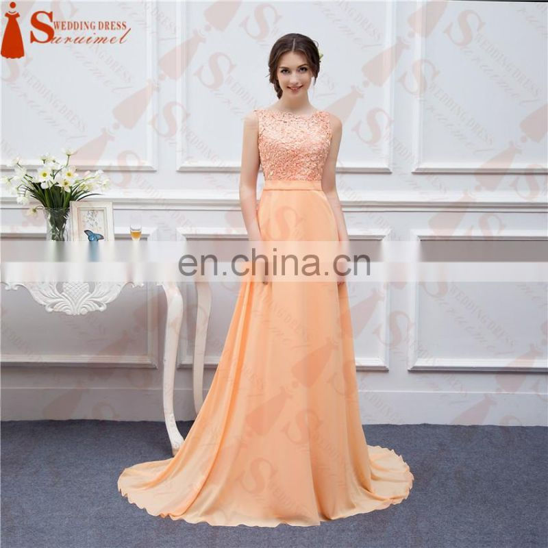 Long Chiffon Bridesmaid Dresses Peach High Quality Lace Backless Sexy Brides Maid Of Honor Vestidos De Real Photo JW001