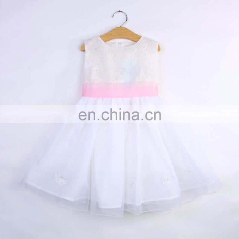 White Embellished Flowers Party Dress for kids
