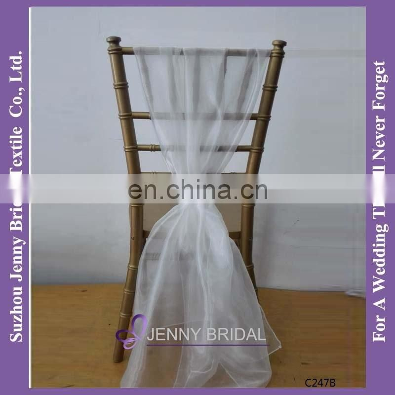 SH043Fgrey chiffon chiavari chair sash,chair cover for wedding