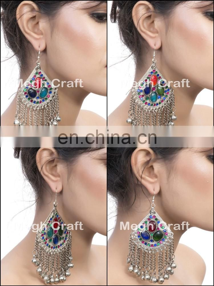 Afghan Kuchi Tribal Earrings- Ethnic Earrings-Afghan Jewelry-Antique Earrings-Belly Dance Earrings BY MEGH CRAFT