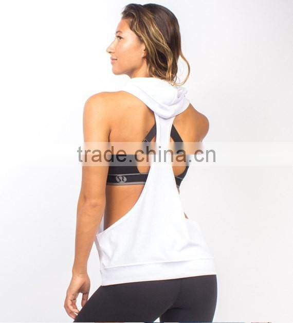 eabc0e618 ... Women's 100% Polyester Dry Fit Racerback Muscle Hoodie Stringer Tank  Top Gym Stringer Hoodie Bodybuilding
