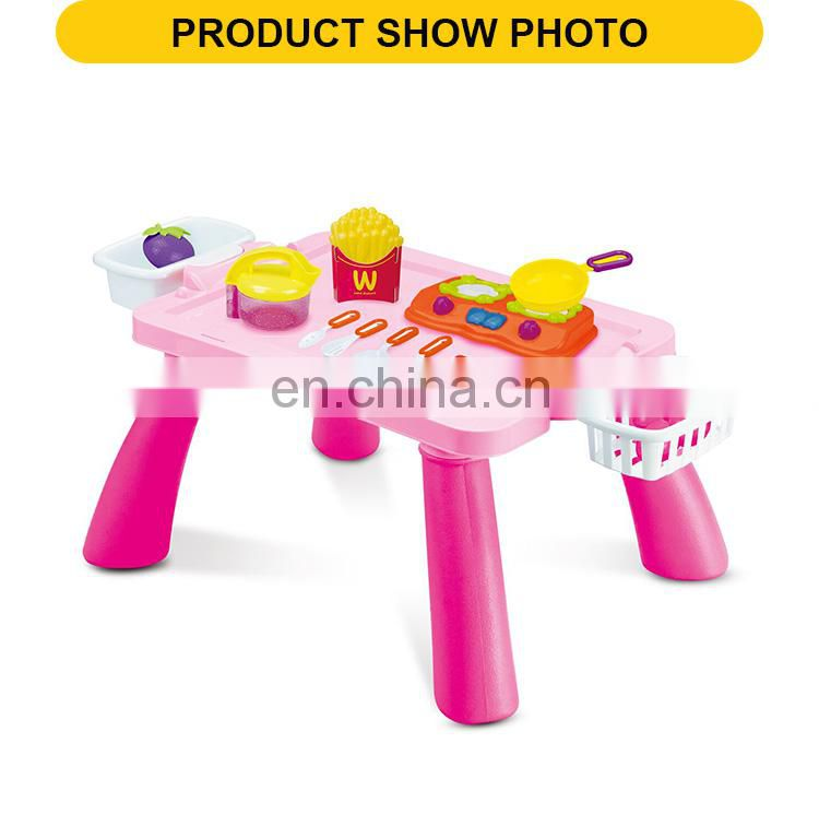 Cooking Table Play Kitchen Toy Set With Food & Pot