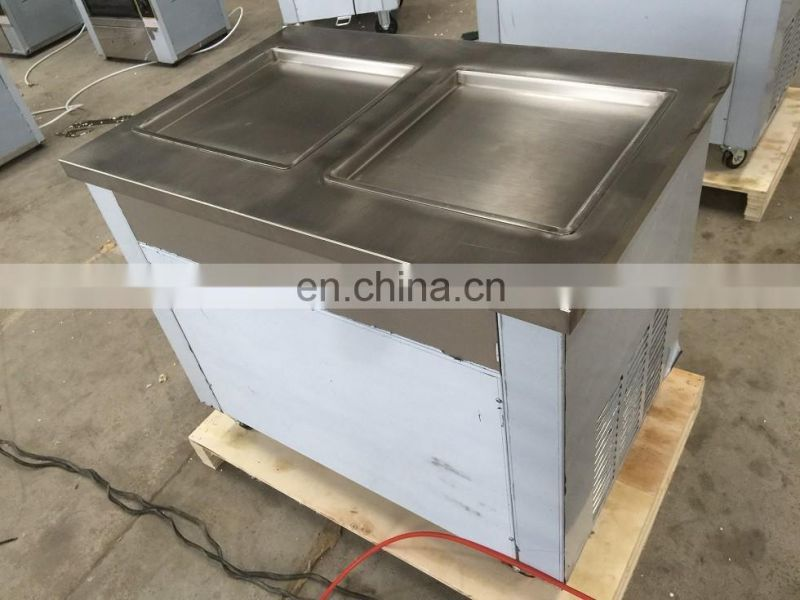 Double 2 Square Pan Fried Ice Cream Roll Making Machine