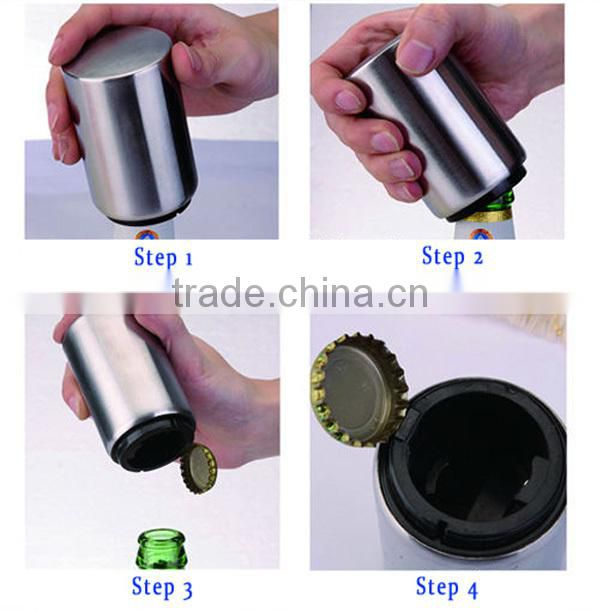 Automatic Aluminum or plastic cylinder beer bottle opener with magnet