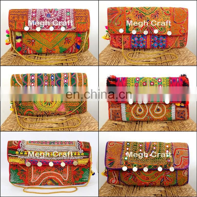 tribal banjara Style Wallet- Embroidered mirror work Wallet- Vintage clutch/wallet bag
