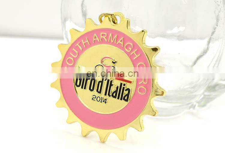 Cute Special Metal Gold Star Shaped Cycling Enamel Medal