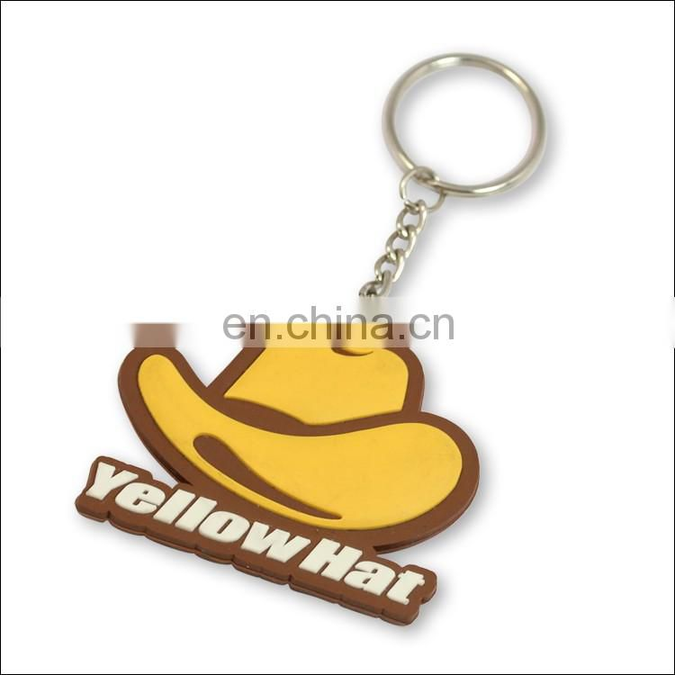 Custom pvc keychain yellow hat shape key ring