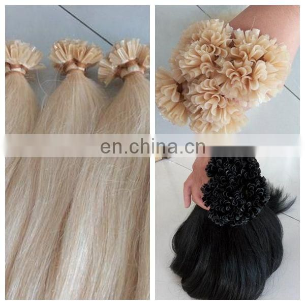 8A pre-bonded human hair extension , sew in human hair extension