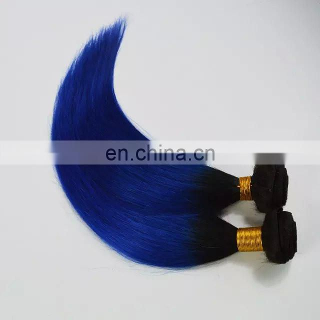 fashion 2015 ombre 1b-blue body wave silky straight brazilian human hair extension colored two tone hair weave for black women