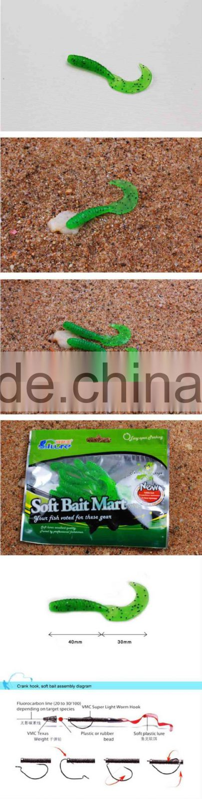 Popular Artificial Bait Grubs Soft Bait Fishing Lures