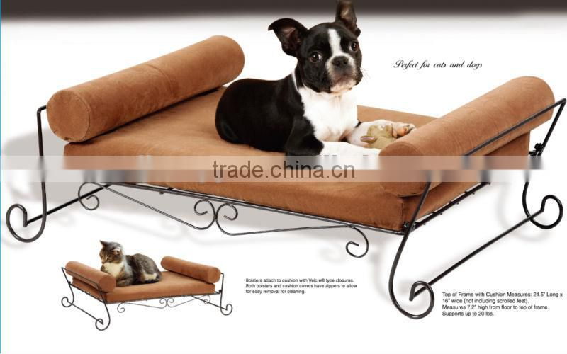 RH-4736 Metal frame Scroll Rmovable Zippered Covers Comfort Pet safa dog bed