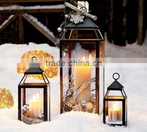 modern art elegant glass & metal lantern