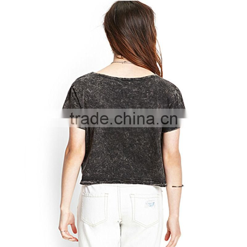2015 Fashion ladies short sleeves deep gray pure color 100%cotton T-shirt